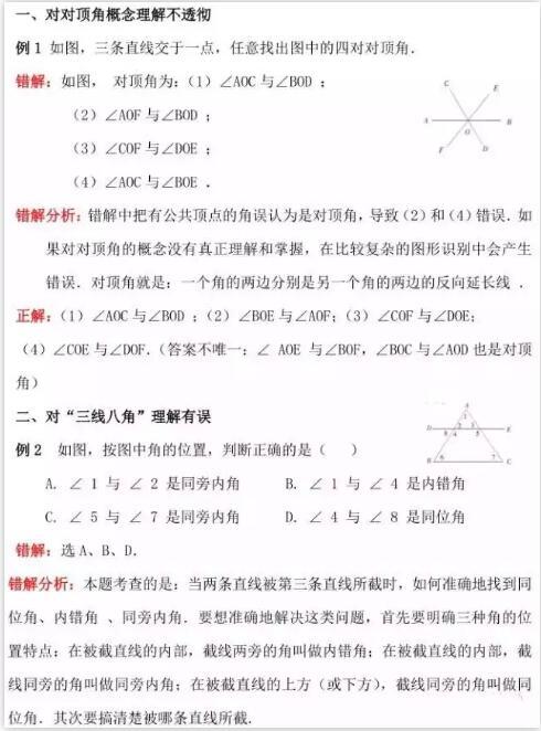 中考数学指导:相交线与平行线知识梳理