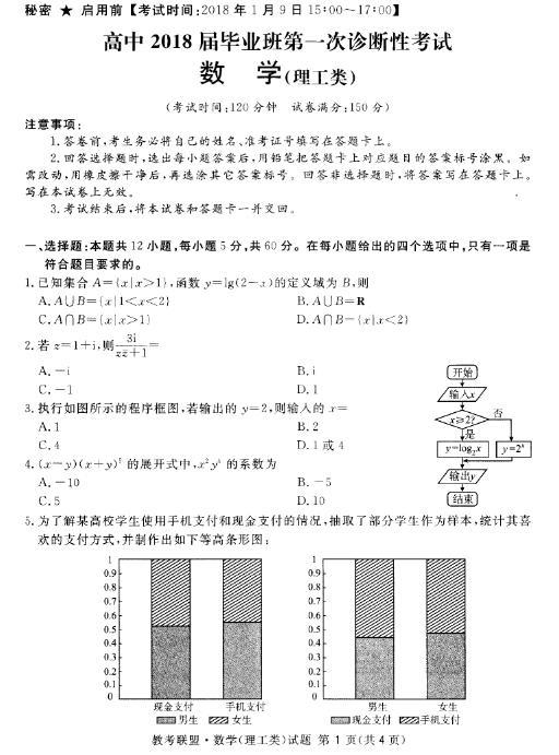 2018年眉山广安一诊理科数学试题及答案