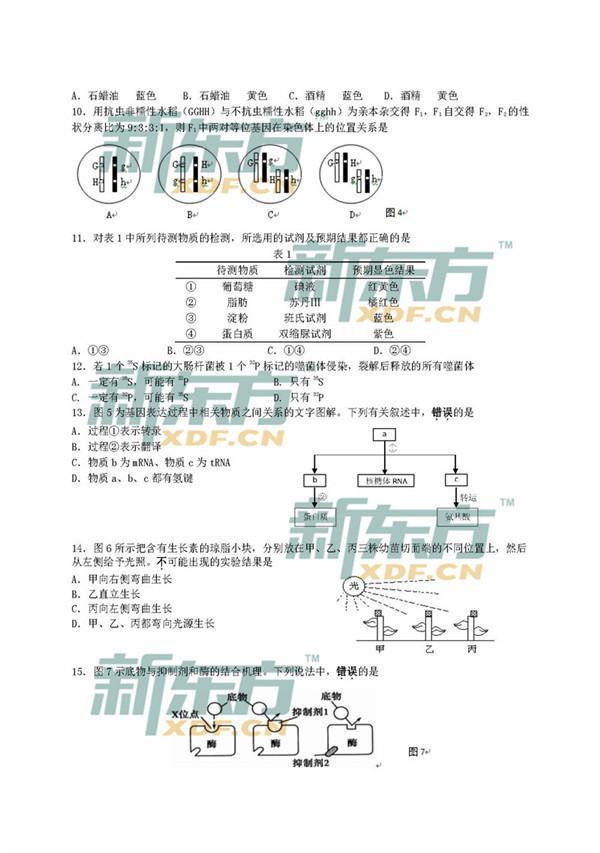 2018上海嘉定区高三一模生物试题及答案