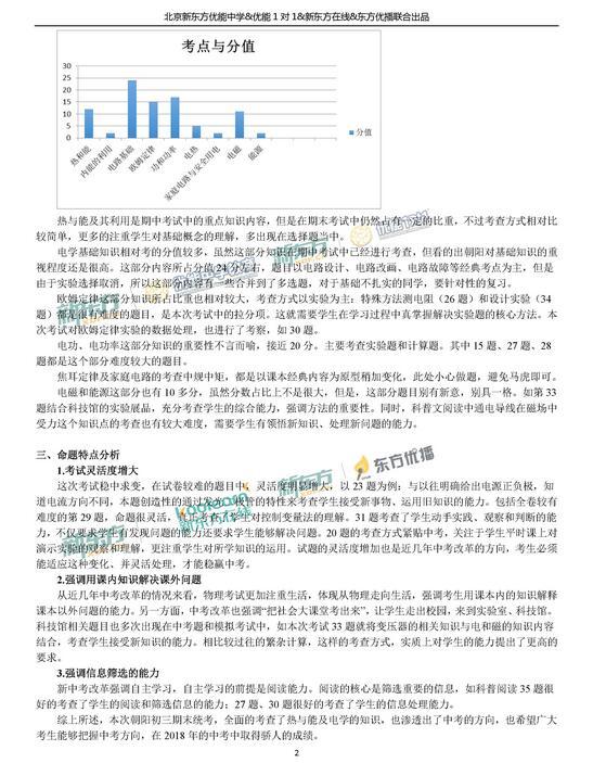 2018北京朝阳区初三物理期末试卷点评(新东方版)
