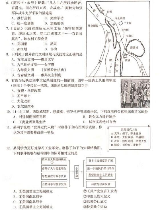 2018年北京海淀区初三期末历史答案