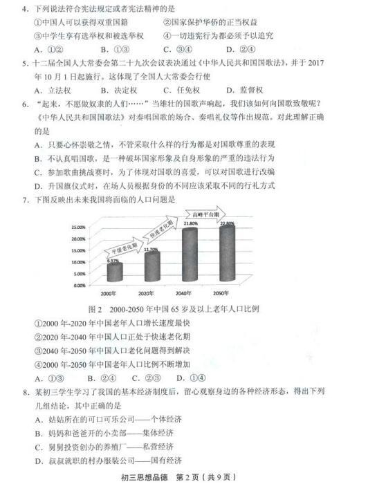 2018年北京丰台区初三期末政治试题