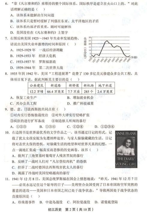 2018年北京丰台区初三期末历史试题