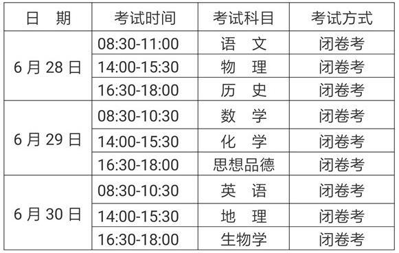 云南2018中考时间:6月28日至7月2日