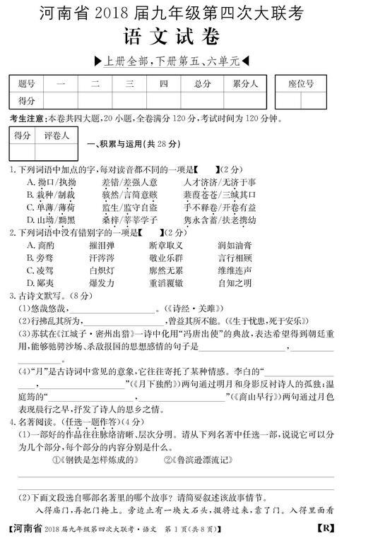 2018河南初三第四次大联考语文试题