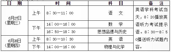 陕西2018中考考试时间:6月27日至28日