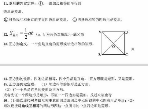 人教版初中数学知识点大盘点:四边形