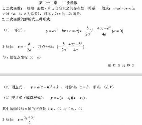 人教版初中数学知识点大盘点:二次函数