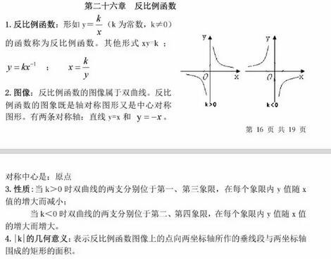 人教版初中数学知识点大盘点:反比例函数