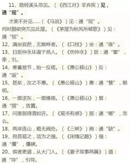 初中语文1-6册文言文知识点归纳:通假字