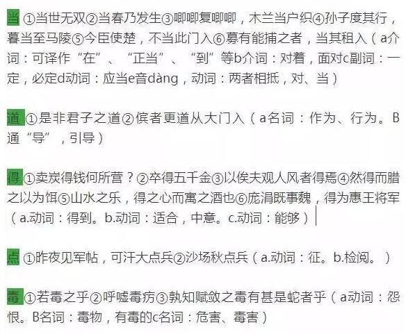初中语文1-6册文言文知识点归纳:实词一词多义