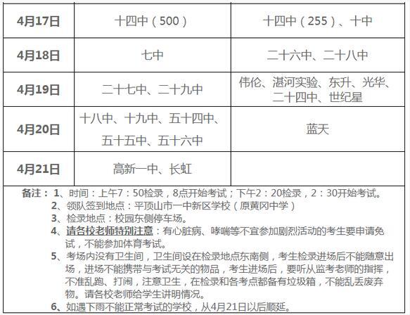 河南平顶山2018中考体育日程安排表