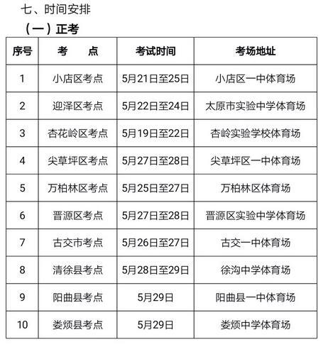 山西太原2018中考体育考试时间及考点安排