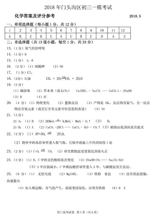 北京门头沟区2018中考化学一模试题及答案
