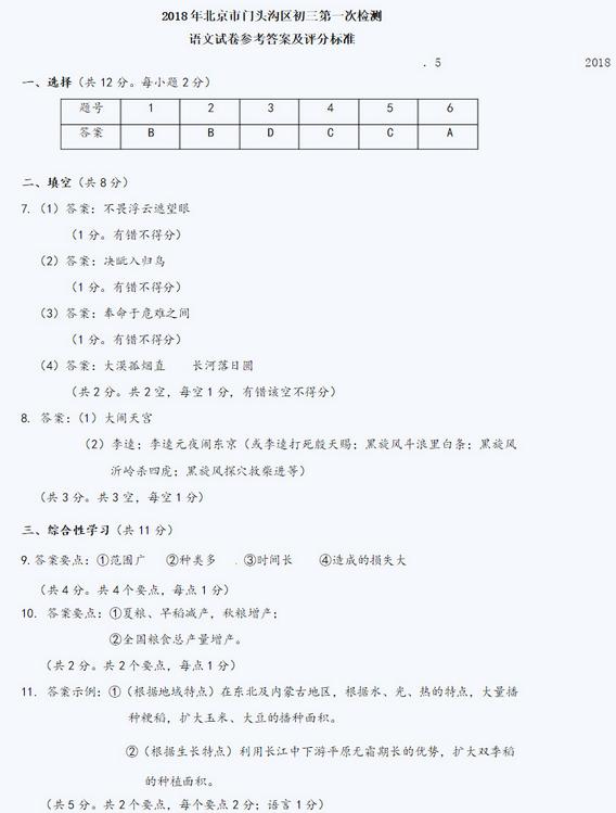 北京门头沟区2018中考语文一模试题及答案