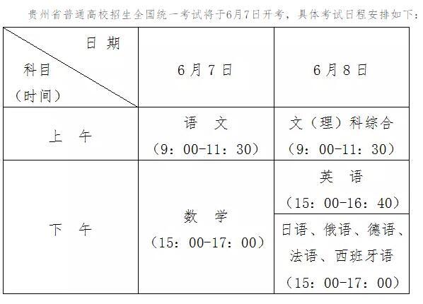 贵州2018年高考时间及考试科目