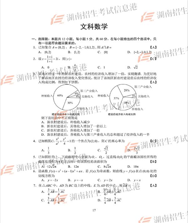 2018全国卷1高考文科数学试卷及答案