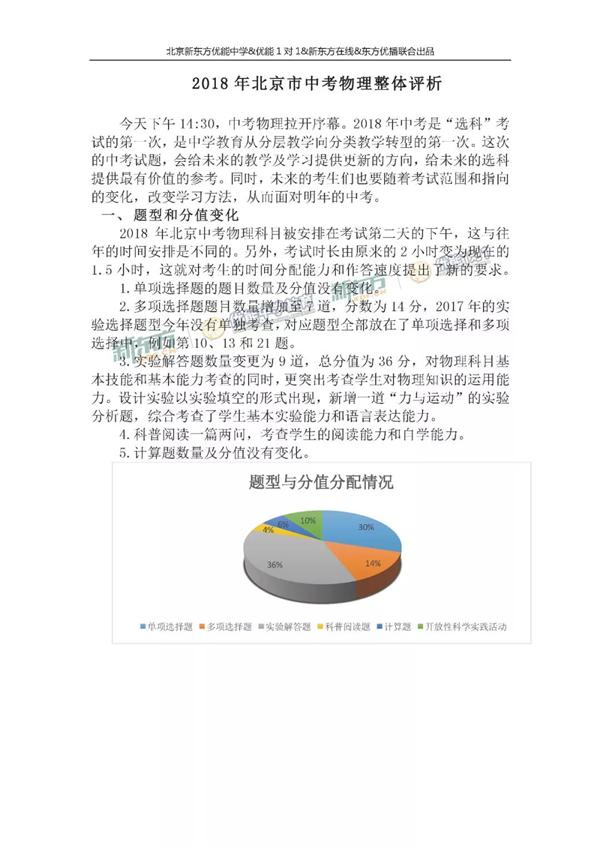 2018北京中考物理试卷整体解析