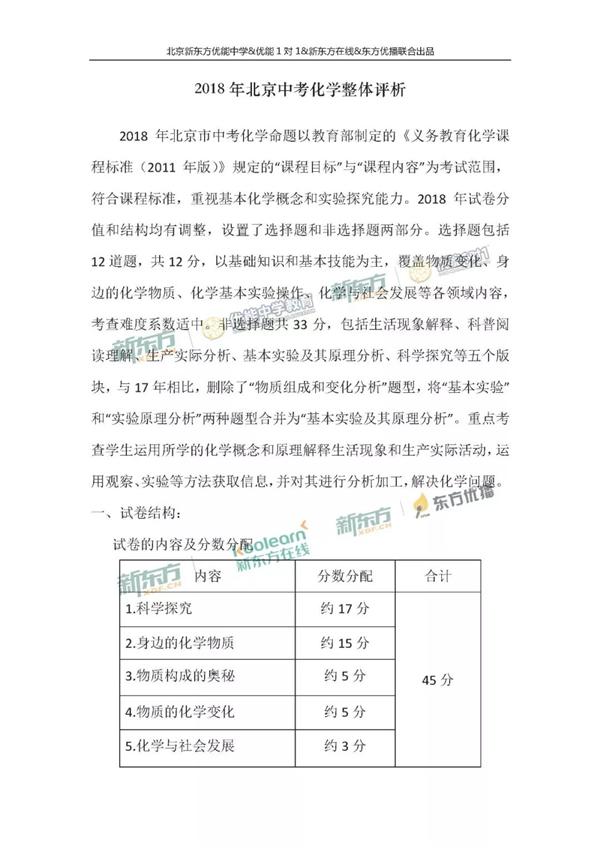 2018北京中考化学试卷整体解析