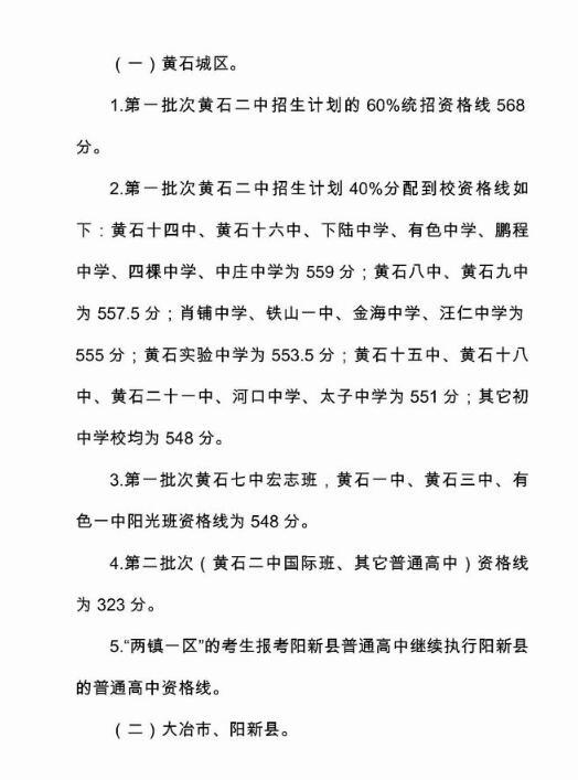 2018年黄石市高中阶段学校招生分数线