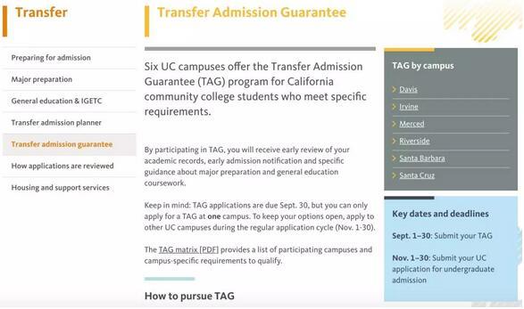2018-2019加州大学转学时间规划表