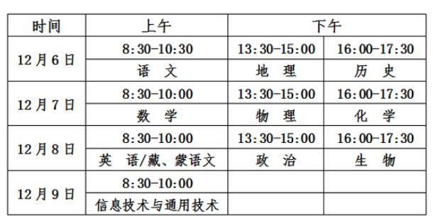 青海2018年12月高中学考报名时间