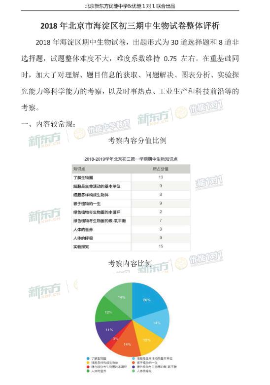 2018北京海淀初三期中生物试卷整体评析