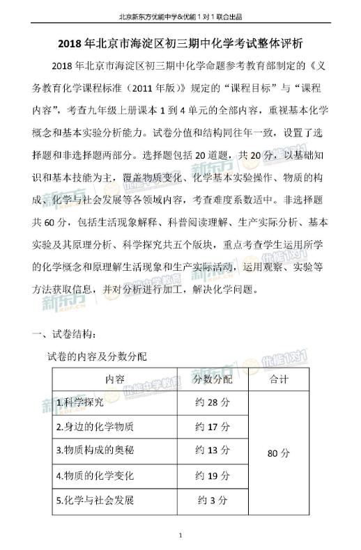 2018北京海淀初三期中化学试卷整体评析