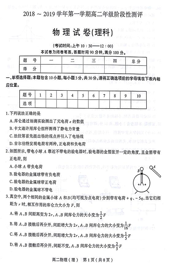 2018-2019年山西省太原高二(上)期中物理试题及答案