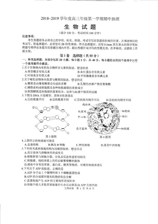 2019江苏省徐州市高三期中生物试题及答案
