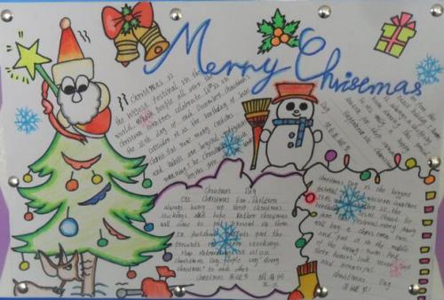 圣诞节英语手抄报:merry christmas