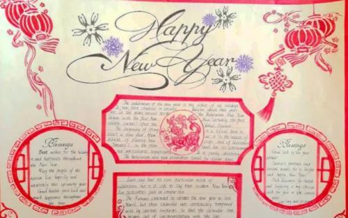元旦英语手抄报:新年快乐图片