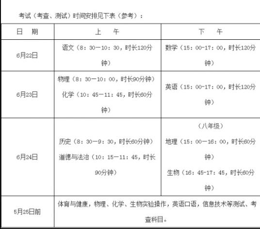 福建三明2019中考考试时间:6月22日至24日