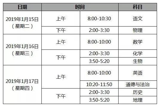 2019北京海淀区初三期末考试时间安排