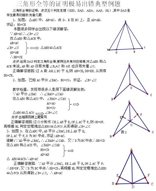 2019中考数学知识点:全等的证明极易出错典型例题