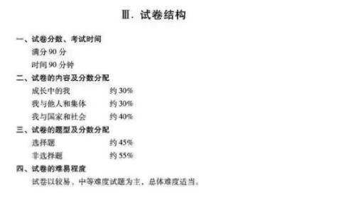 2019上海中考政治试卷结构