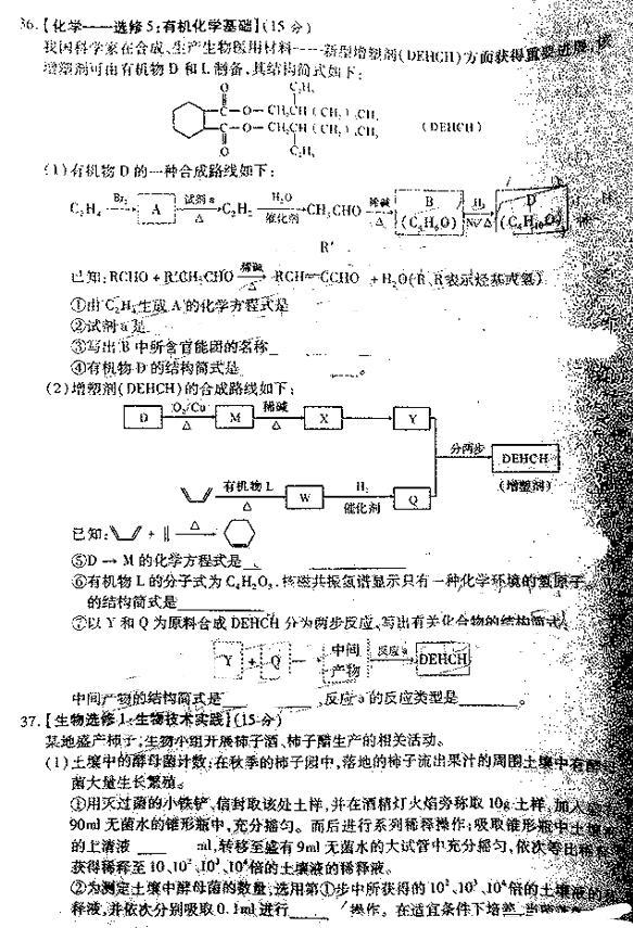 2019宝鸡二模理综高中及试题吗a高中答案图片