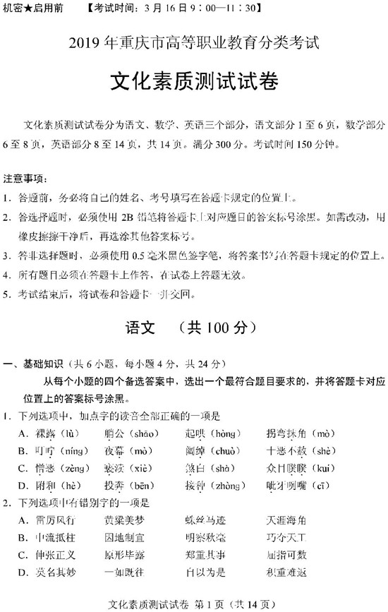 2019重庆高职分类考试文化素质测试试题及答案