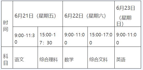 2019贵州中考时间:6月21日至23日