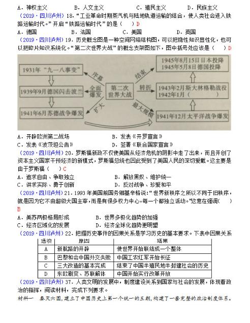 2019四川泸州中考高中作文作文答案冬天历史图片