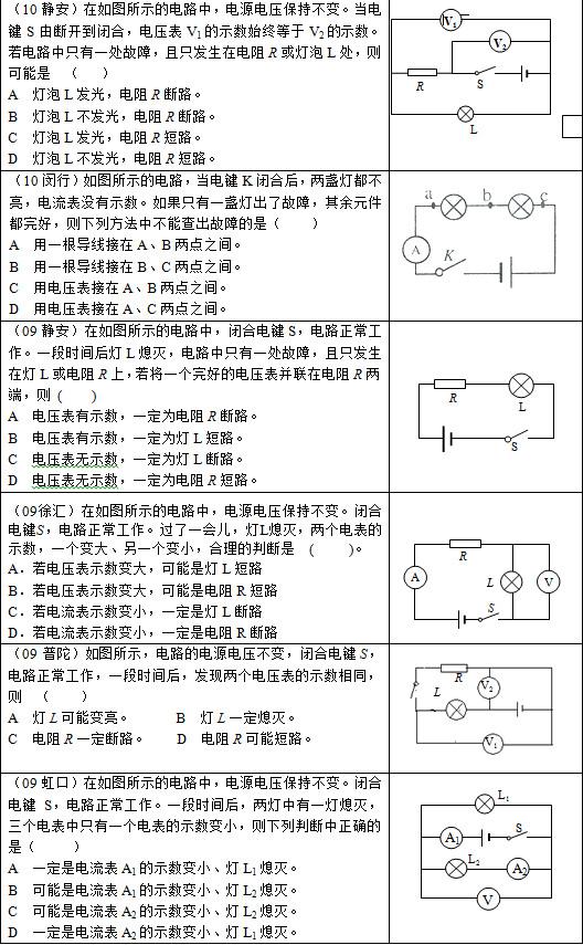 中考物理备考:13道电路故障练习题