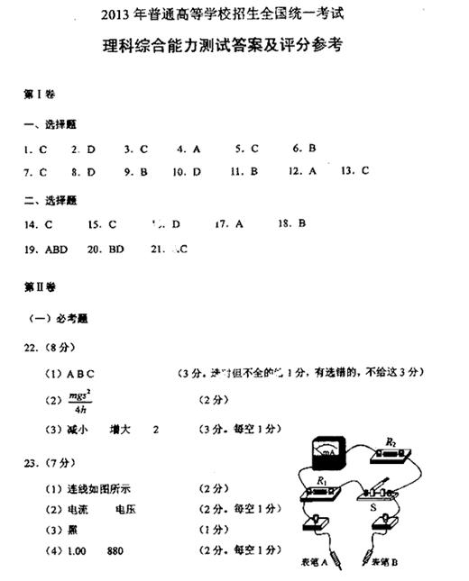 江苏2013高考理科综合试题及答案(下载版)