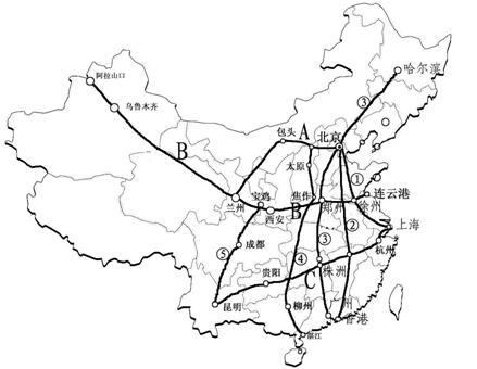 """122,""""三横五纵"""":   横:a京包-包兰线,b陇海-兰新线,c沪杭-浙赣"""