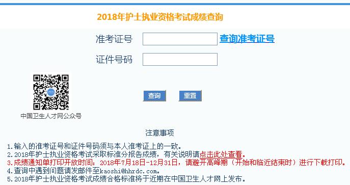 中国卫生人才网2018年护士资格证考试成绩单打印入口