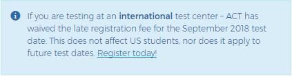 2018年9月ACT考试国际考区免迟报名费