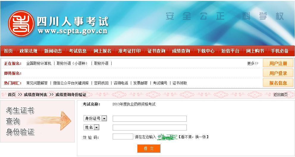 四川省2013年执业药师考试成绩查询