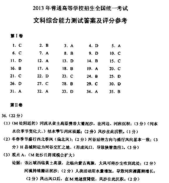 江苏2013高考文科综合试题及答案(下载版)