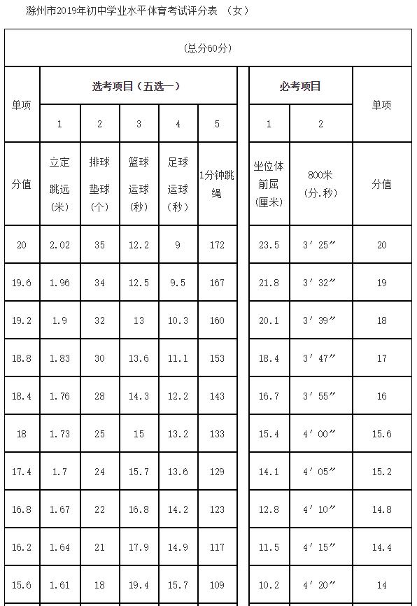 2019安徽滁州中考体育评分标准