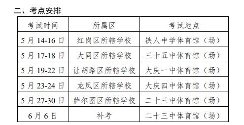 2019黑龙江大庆中考体育考试补考时间及考点安排