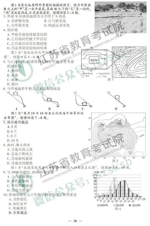 2019江苏高考地理试题及参考答案